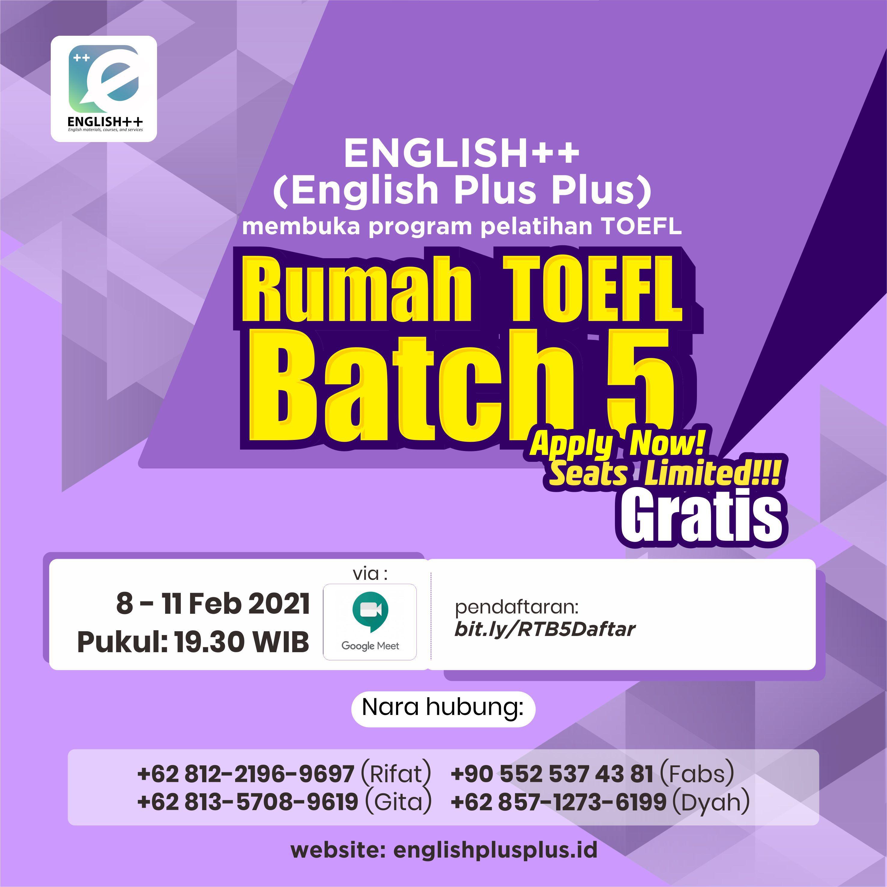 Rumah TOEFL Batch 5