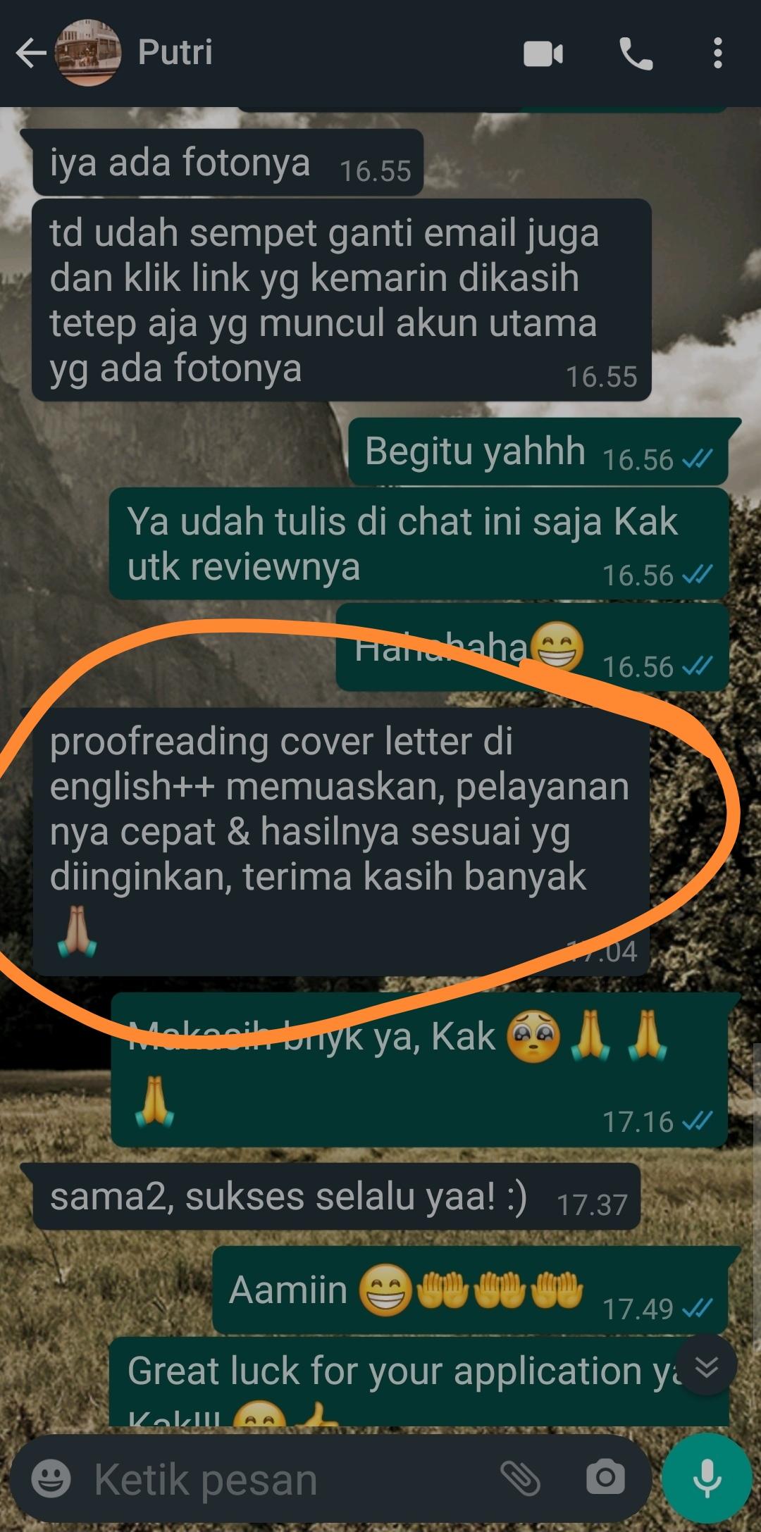 Testimoni Jasa Cover Letter