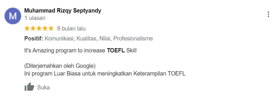 Testimoni Kursus TOEFL 15